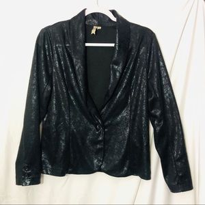 Black shiny blazer one button black fitted